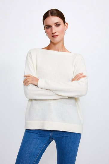 Ivory Cashmere Blend Slash Neck Jumper