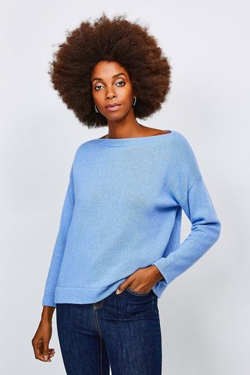 Light blue Cashmere Blend Slash Neck Jumper