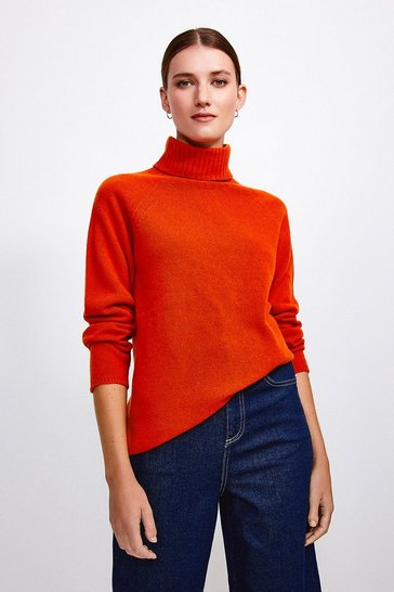 Orange Cashmere Blend Roll Neck Jumper