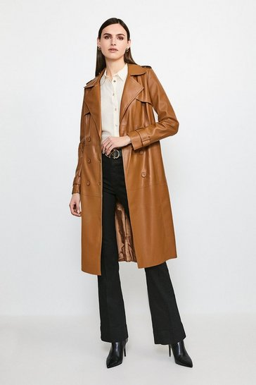 Camel Faux Leather Trench Coat