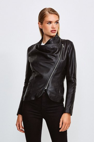 Black Leather and Ponte Envelope Neck Biker Jacket
