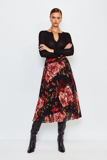 Black Floral Print Midi Pleated Skirt