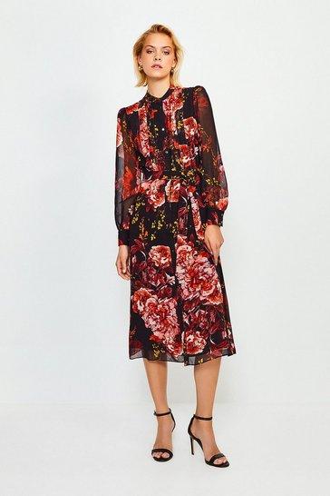 Black Long Sleeve Floral Print Midi Dress
