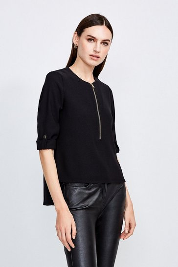Black Relaxed Tailored Zip Front Top