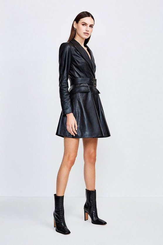 Black Leather Fluted Hem Mac