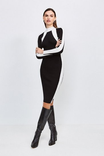 Blackwhite Mono Knitted Funnel Neck Dress