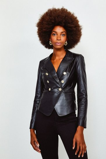 Black Leather Gold Button Blazer