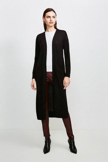 Black Merino Wool Longline Cardigan