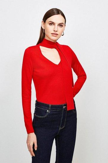 Red Merino Wool Tie Neck Jumper