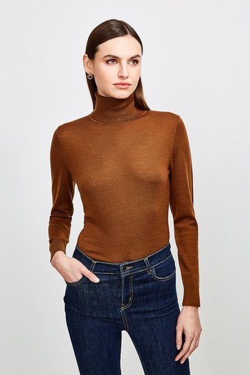 Chocolate Merino Wool Roll Neck Jumper