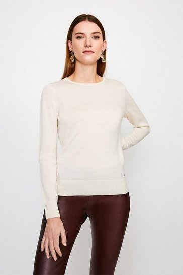Ivory Merino Wool Crew Neck Jumper
