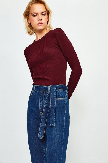 Mid wash Tie Belt Skinny High Waisted Jean