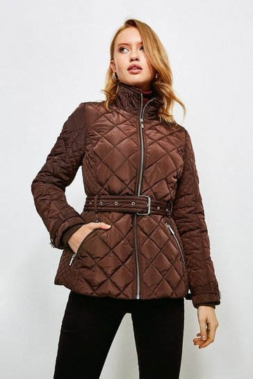 Chocolate Short Quilted Belt Coat
