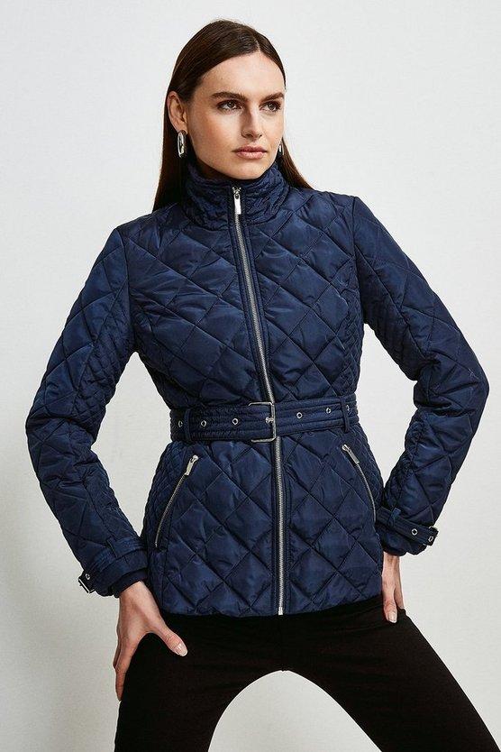 Navy Short Quilted Belt Coat
