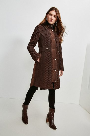 Chocolate Long Quilted Faux Fur Trimmed Hood Coat