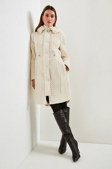 Ivory Long Quilted Faux Fur Trimmed Hood Coat