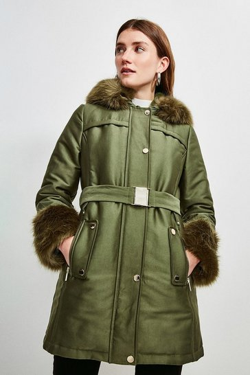 Olive Faux Fur Trimmed Parka Coat