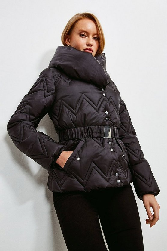 Black Short Quilted Padded Collar Coat