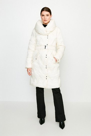 Ivory Long Quilted Padded Collar Coat