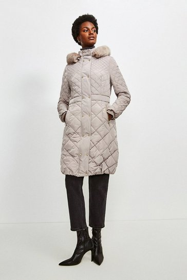 Mink Long Quilted Faux Fur Trimmed Hood Coat