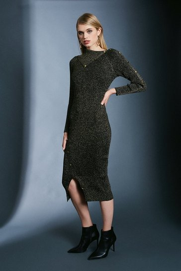 Black Sparkle Knit Rib Button Envelope Neck Dress