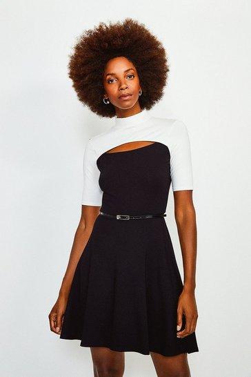 Mono Viscose Jersey Colour Block Peep Hole Belted Dress