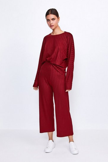 Berry Ribbed Jersey Lounge Wide Leg Trouser