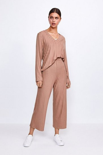 Camel Ribbed Jersey Lounge Wide Leg Trouser