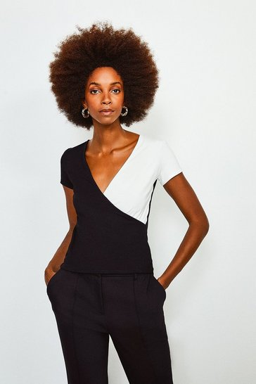Mono Colour Block Wrap Jersey Short Sleeve Top