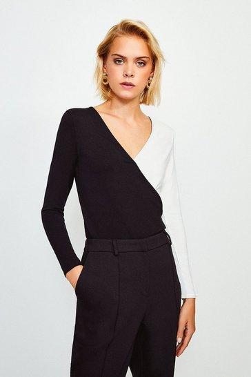Mono Long Sleeve Colour Block Jersey Wrap Top