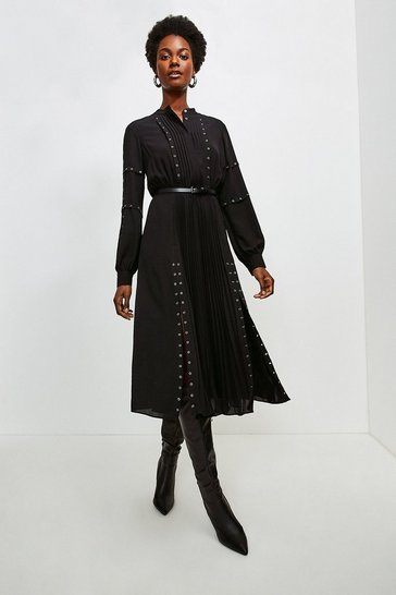 Black Pintuck And Eyelet Detail Dress