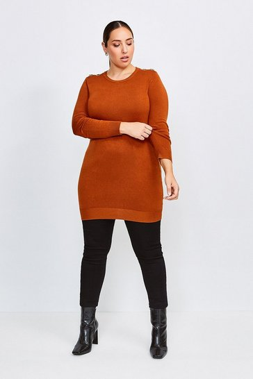 Cashew Curve Trim Detail Knitted Tunic