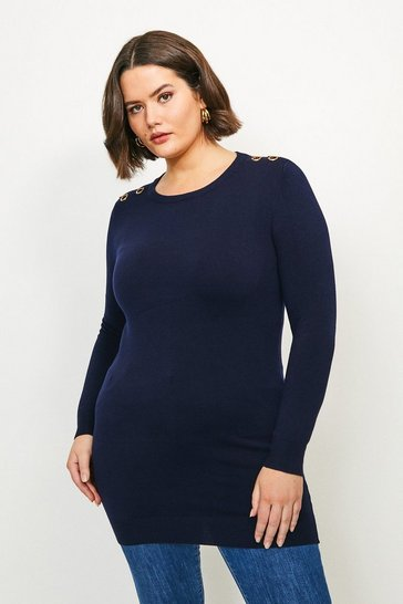 Navy Curve Trim Detail Knitted Tunic