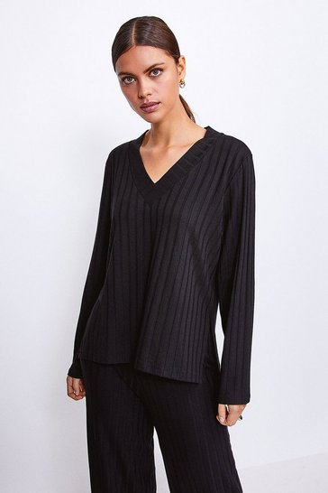 Black Ribbed Jersey Lounge V Neck Long Sleeve Top