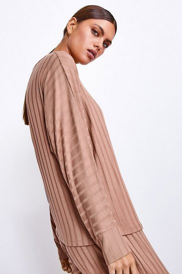 Camel Ribbed Jersey Lounge Round Neck Long Sleeve Top