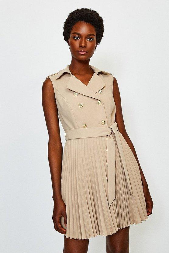 Beige Military Pleated Skirt Dress