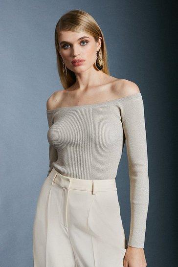 Ivory Sparkle Knit Rib Long Sleeve Bardot Top