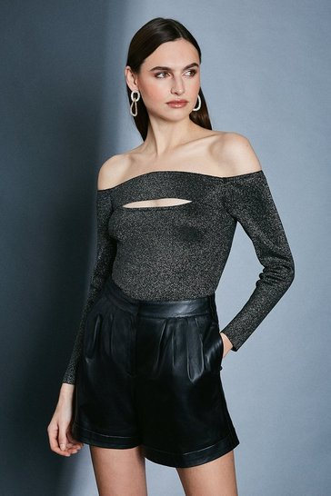 Black Sparkle Knit Rib Bardot Peep Hole Top