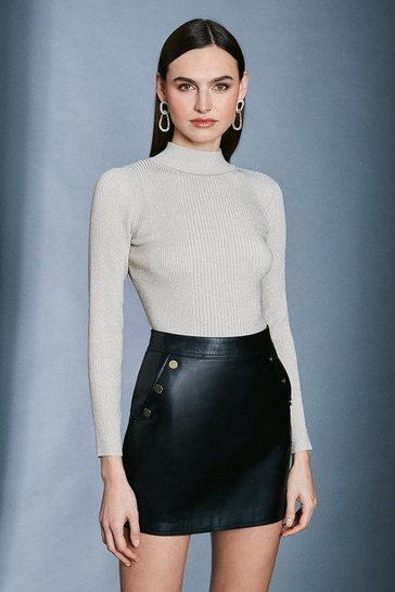 Ivory Sparkle Knit Rib Long Sleeve Funnel Neck Top