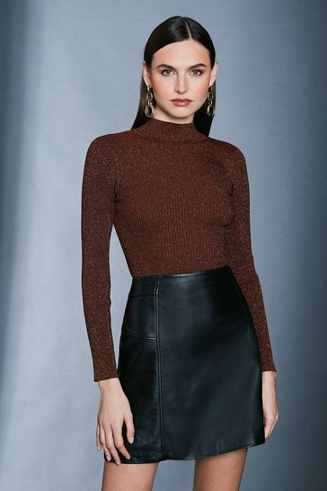 Rust Sparkle Knit Rib Long Sleeve Funnel Neck Top