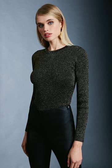 Black Sparkle Knit Rib Long Sleeve Crew Neck Top