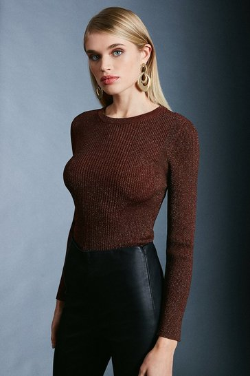Rust Sparkle Knit Rib Long Sleeve Crew Neck Top