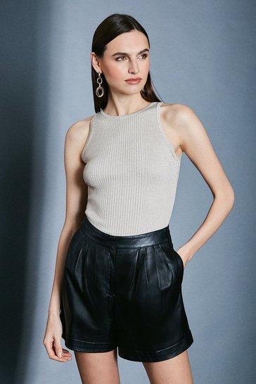 Ivory Sparkle Knit Rib Cut Away Vest Top