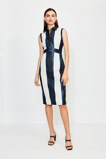 Black Leather Colour Block Collared Dress