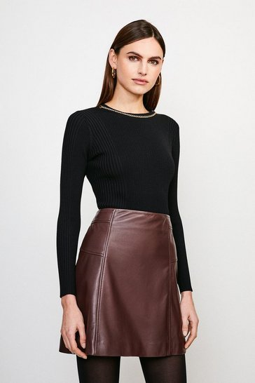 Black Long Sleeve Knitted Rib Eyelet And Trim Top