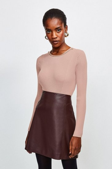 Mink Long Sleeve Knitted Rib Eyelet And Trim Top