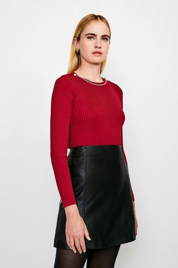 Red Long Sleeve Knitted Rib Eyelet And Trim Top