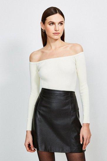 Cream Long Sleeve Knitted Rib Bardot Top