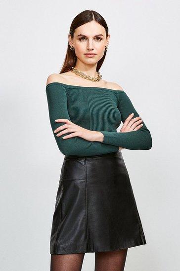 Dark green Long Sleeve Knitted Rib Bardot Top