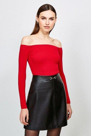 Red Long Sleeve Knitted Rib Bardot Top
